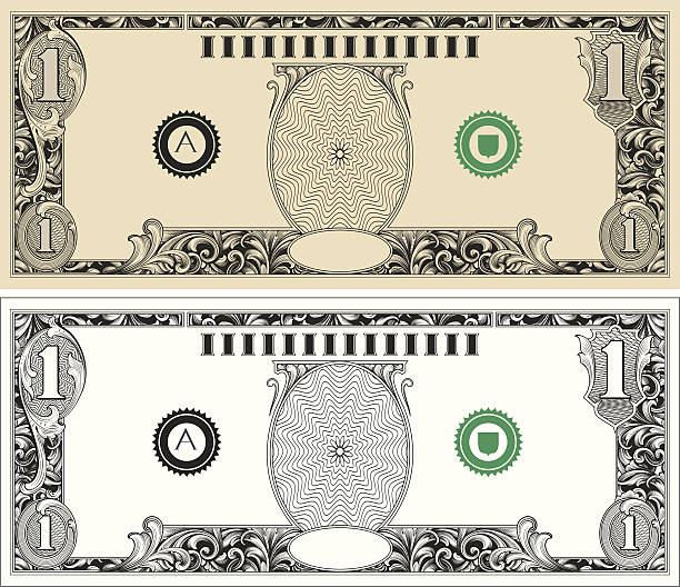 dollar bill with engraved scrollwork - dollar bill stock illustrations
