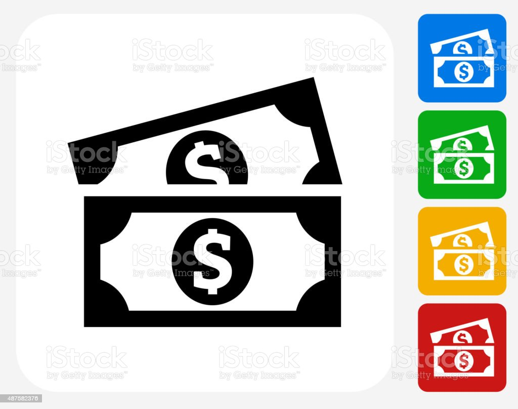 Dollar Bills Icon Flat Graphic Design vector art illustration