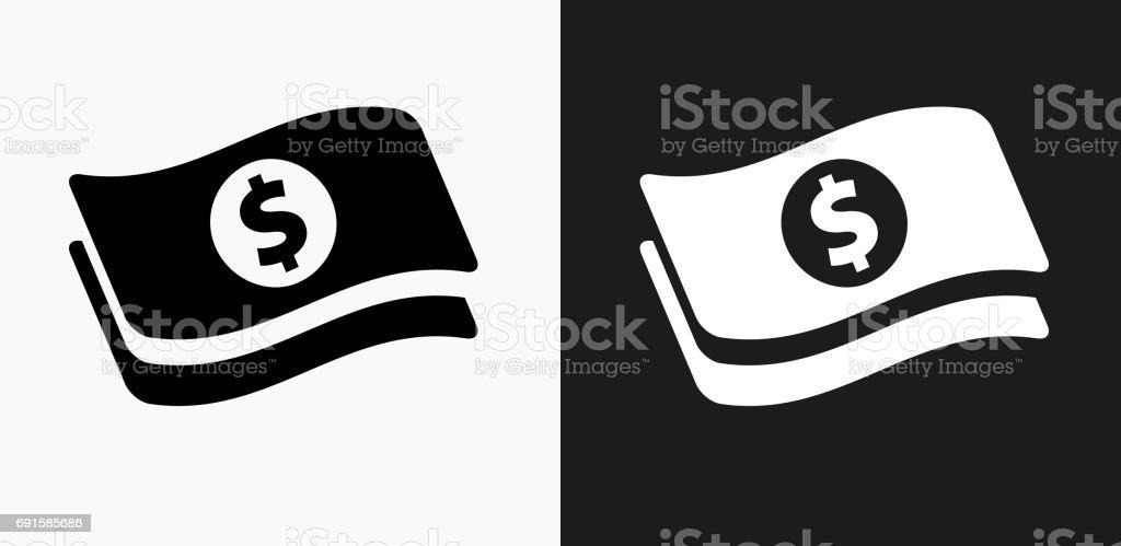 Dollar Bills Icon on Black and White Vector Backgrounds vector art illustration