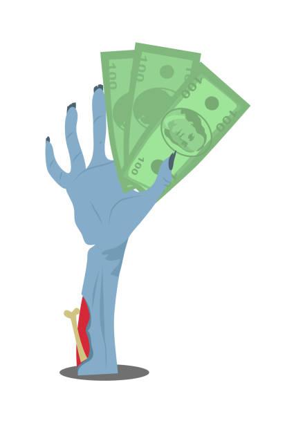 dollar bills in zombie hand flat vector - evil money stock illustrations, clip art, cartoons, & icons