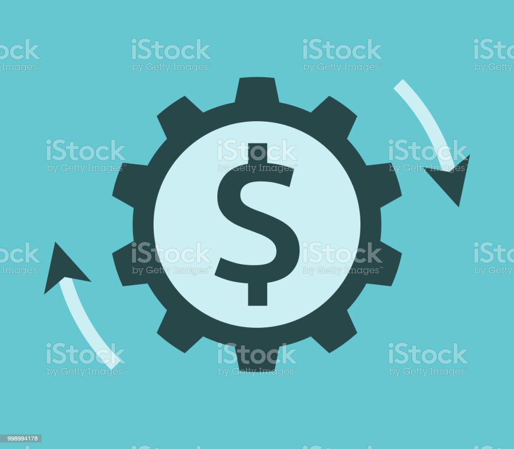 Dollar-Cog, Money arbeiten – Vektorgrafik