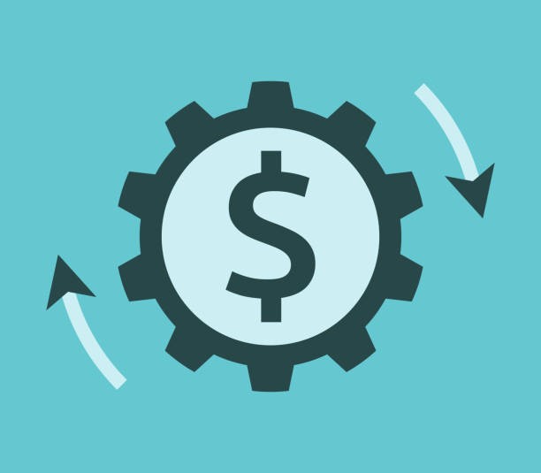 Dollar cog, money working Rotating cog wheel with dollar sign and arrows. Investment, money, market and business concept. Flat design. Vector illustration, no transparency, no gradients cash flow stock illustrations