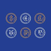 Dollar coin, euro sign, pound line icon, yen currency, ruble symbol