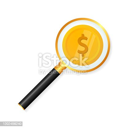 Dollar coin lying under magnifying glass. Search of money, wealth, finance