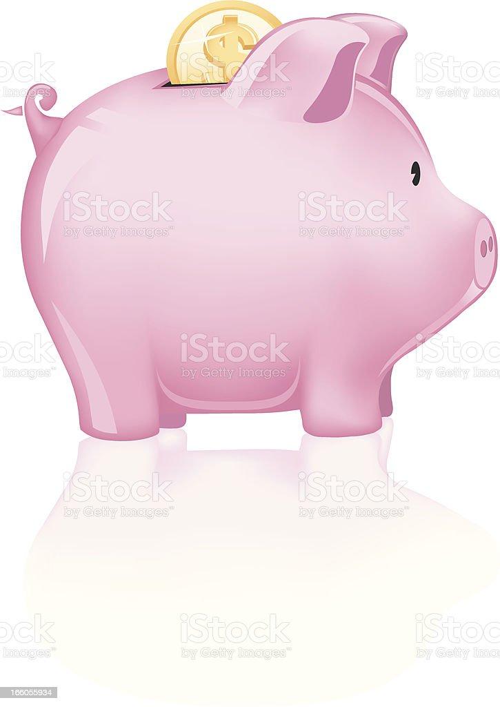 Dollar Coin Piggy Bank royalty-free stock vector art