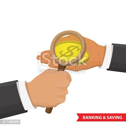 Hand holding a magnifying glass and look at the gold coin. Graphic Design for Business Growth and Start up concept. success concept. Search of money, finance, of profit, analysis concept.