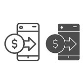 Dollar coin with arrow on smartphone line and solid icon. Online web wallet symbol, outline style pictogram on white background. Money transfer sign for mobile concept and web design. Vector graphics
