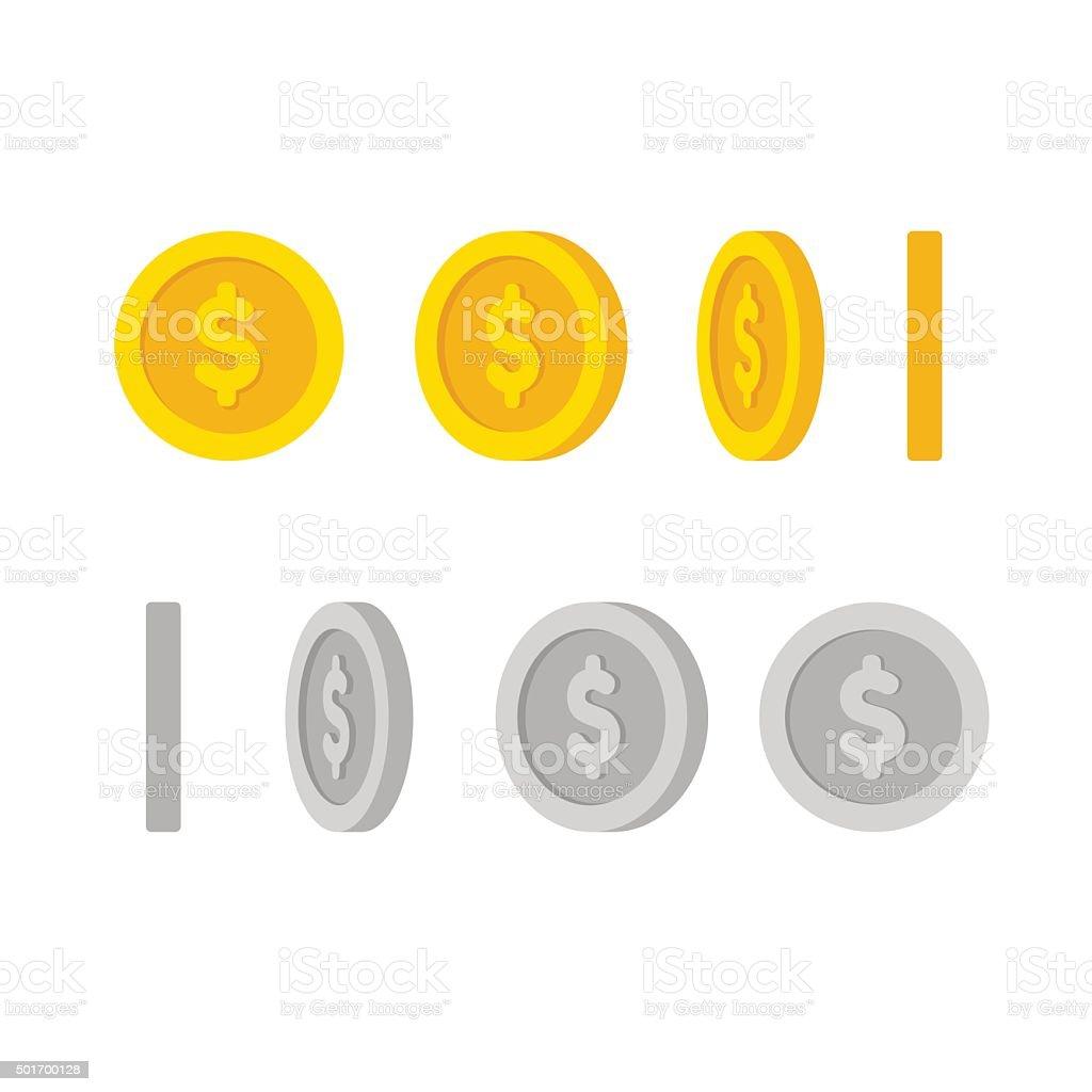 Moedas do dólar rotação - Vetor de Amarelo royalty-free