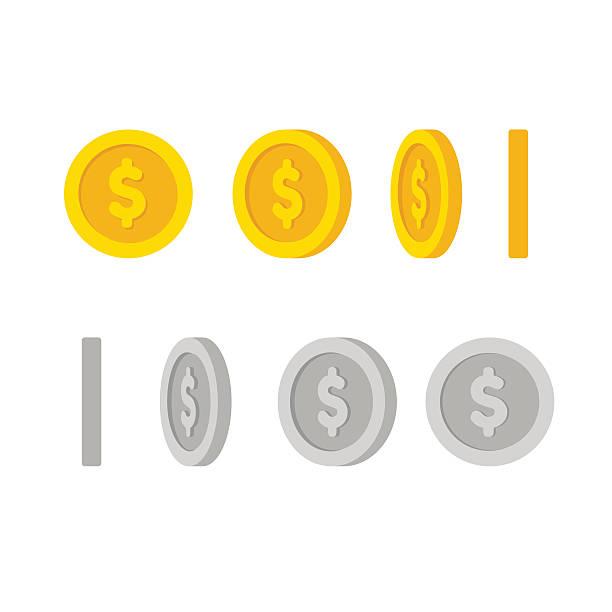 ilustrações, clipart, desenhos animados e ícones de moedas do dólar rotação - moeda