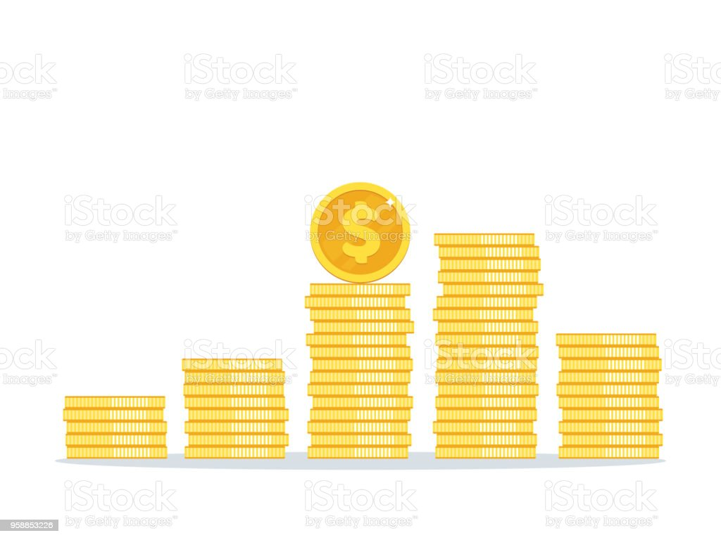 Dollar coins stack vector illustration, icon flat, pile money isolated vector art illustration