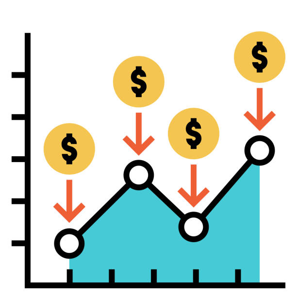 Dollar cost average FlatOutline illustration Line chart with dollar icon and down arrows vector illustration in flat outline design ronald reagan washington national airport stock illustrations