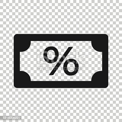 Dollar currency banknote icon in flat style. Dollar cash discount vector illustration on white isolated background. Banknote bill with percent business concept.