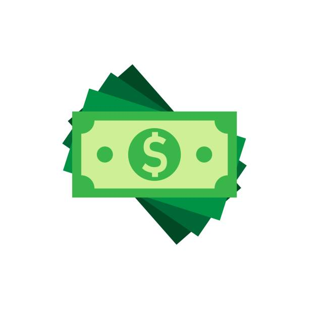 美元貨幣鈔票圖示的扁平風格。美元現金向量例證在白色被隔絕的背景。鈔票票據的經營理念。 - money 幅插畫檔、美工圖案、卡通及圖標