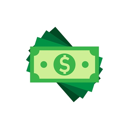 Dollar Currency Banknote Icon In Flat Style Dollar Cash ...
