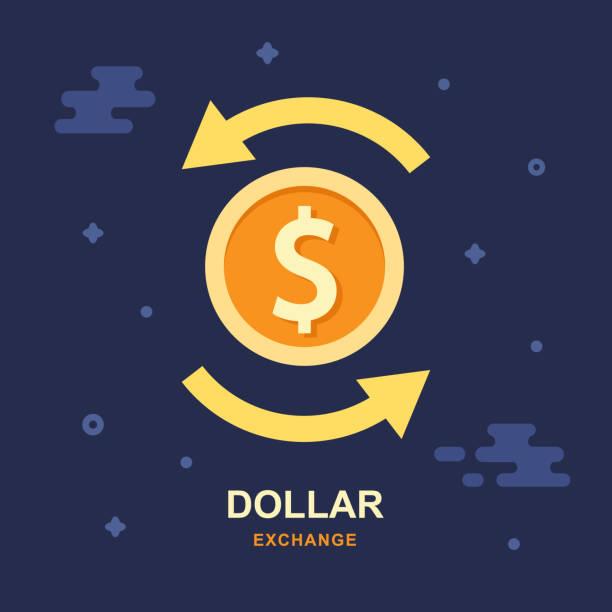 Dollar currency exchange concept. Stock market Dollar currency exchange concept. Stock market. Vector logo design exchange rate stock illustrations