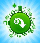 Dollar Decrease Environment Green Button Background on Blue Sky