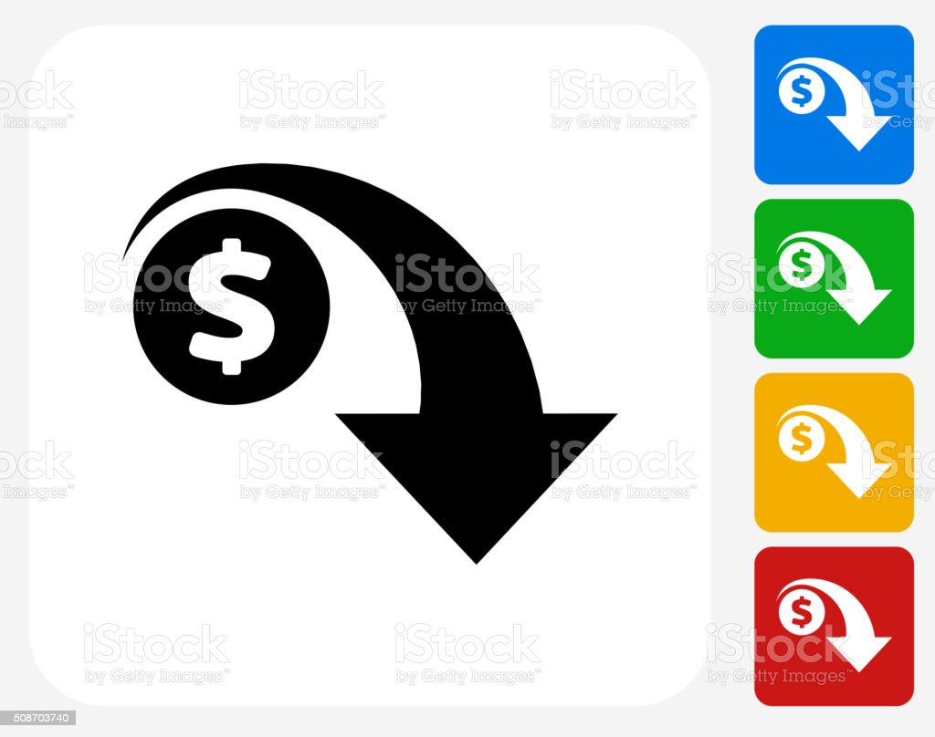 Dollar Decrease Icon Flat Graphic Design vector art illustration