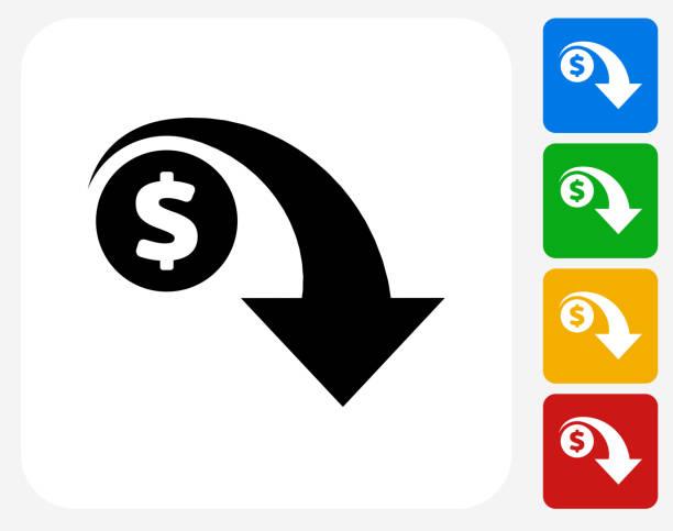 stockillustraties, clipart, cartoons en iconen met dollar decrease icon flat graphic design - vermindering