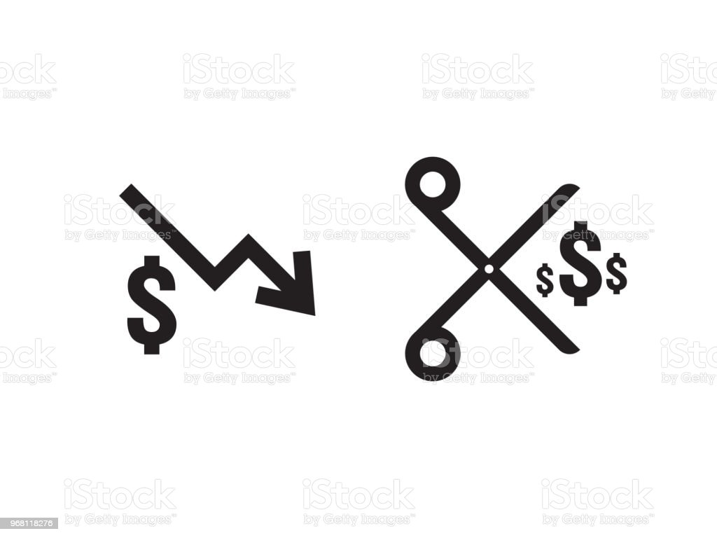 Dollar Decrease Icon Money Rising Drop Fall Down Symbol Business