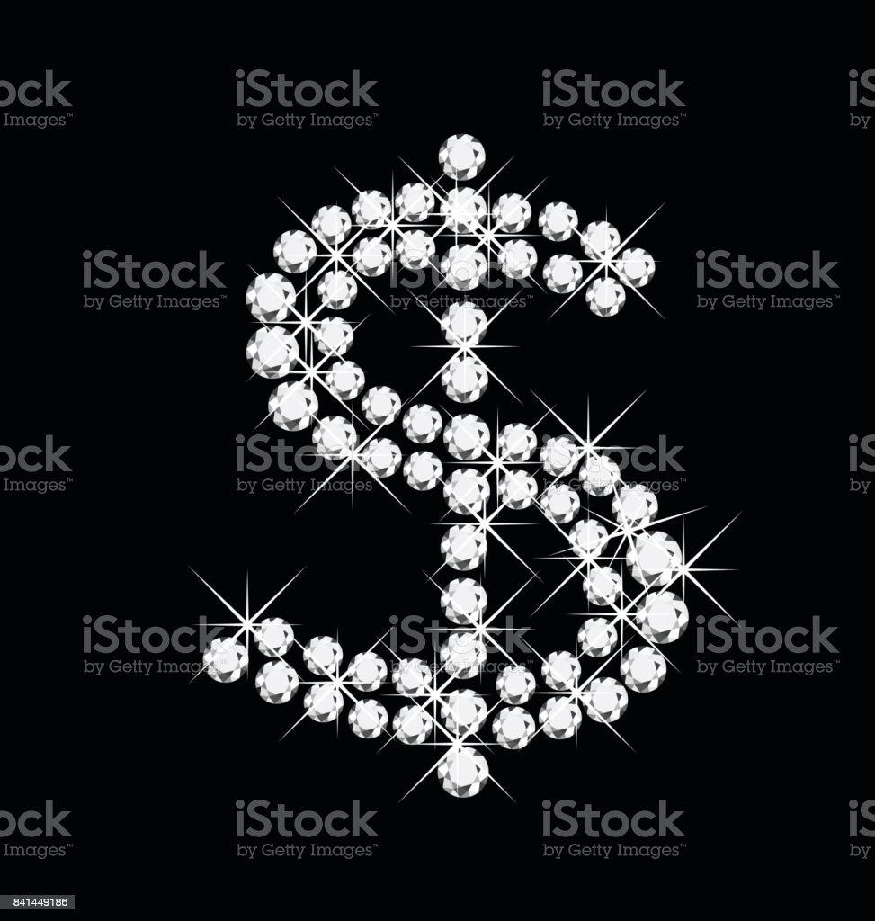 Dollar diamonds bling bling icon symbol vector. vector art illustration