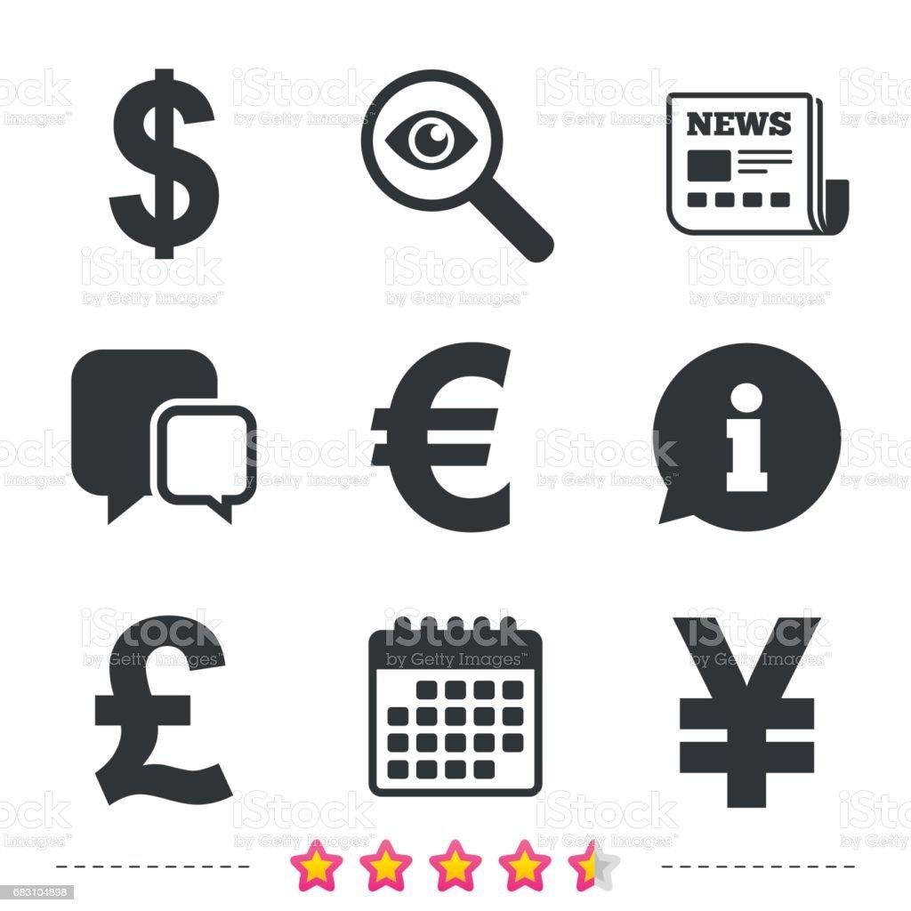 Euro Dollar Americain Livre Sterling Yen Symboles De Devises