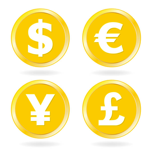 dollar, euro, yen, pound sterling. gold coins icon set. vector illustration. - символ фунта stock illustrations