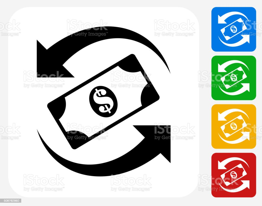 Dollar Exchange Icon Flat Graphic Design vector art illustration