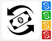 Dollar Exchange Icon Flat Graphic Design
