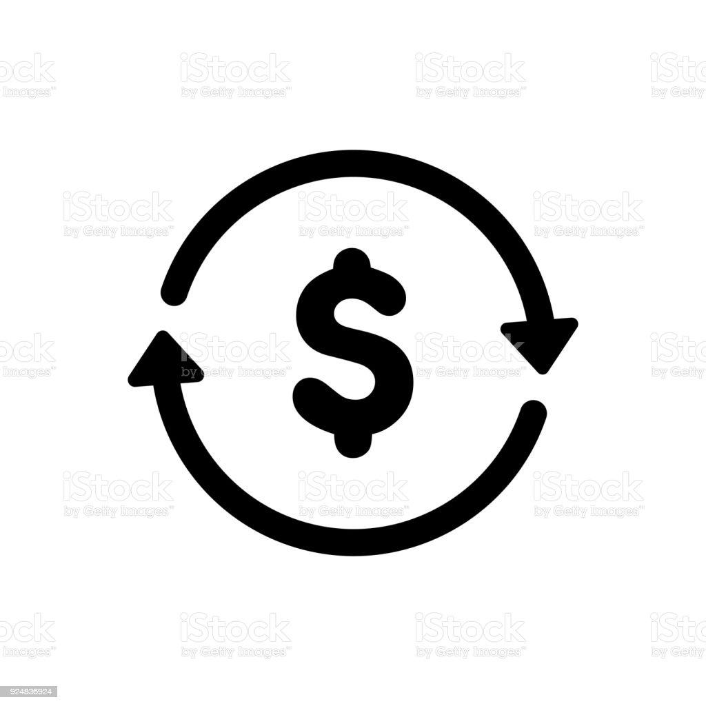 dollar exchange icon vector art illustration