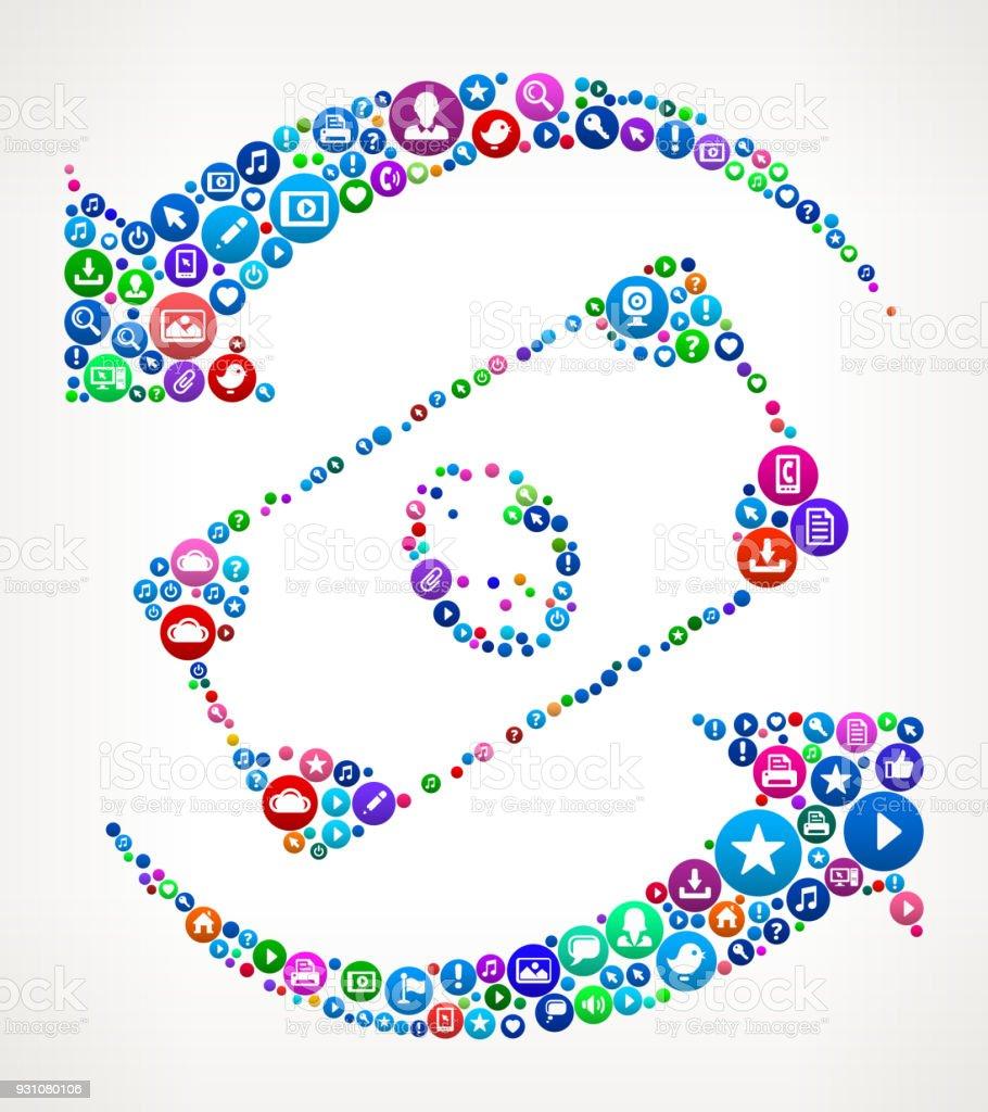 Dollar Exchange Internet Communication Technology Icon Pattern vector art illustration
