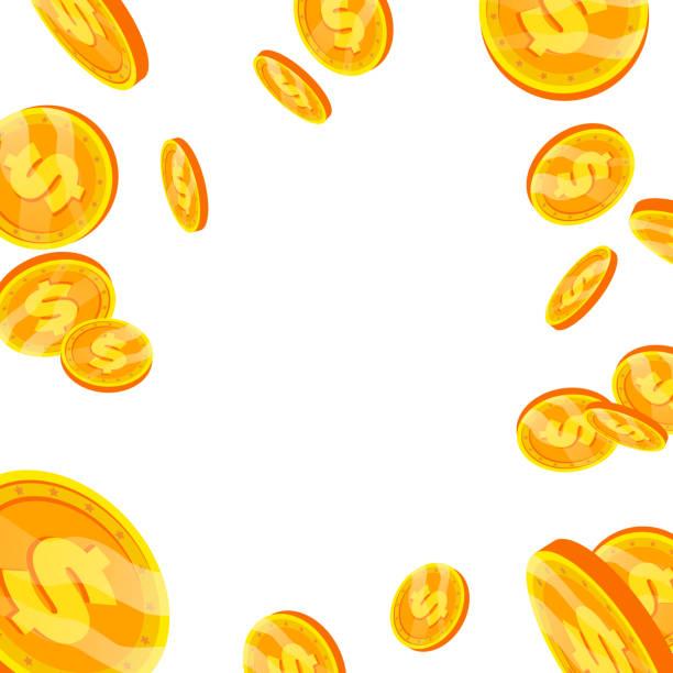 Dollar Falling Explosion Vector. Flat, Cartoon Gold Coins Illustration. Finance Coin Design. Currency Isolated Dollar Falling Explosion Vector. Flat, Cartoon Gold Coins Illustration. Finance Coin Design. Currency banking borders stock illustrations