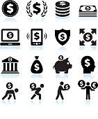 Dollar Finance and Money Black & White Icon Set