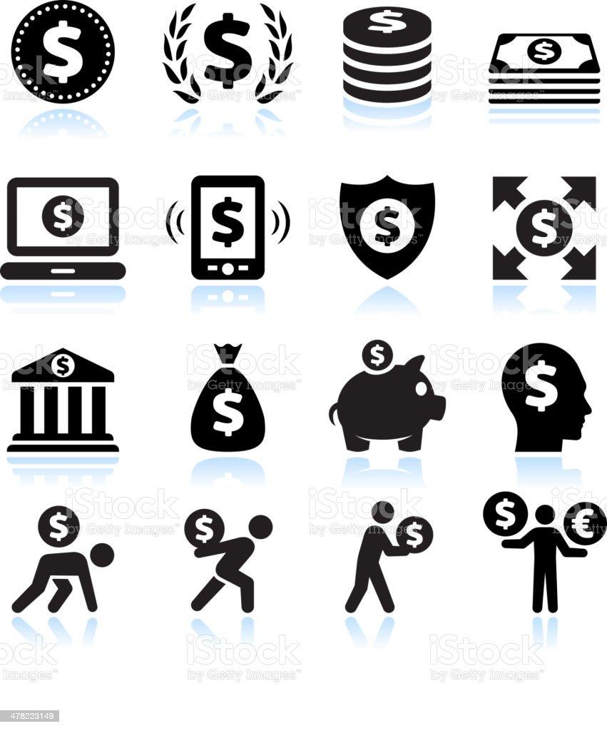 Dollar Finance and Money Black & White vector icon set vector art illustration