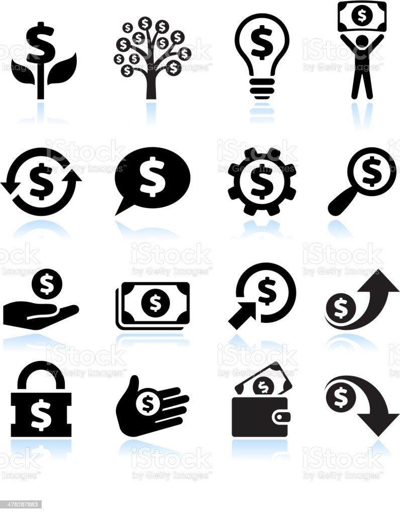 Dollar Argent et Finance noir & blanc vecteur Ensemble d'icônes - Illustration vectorielle