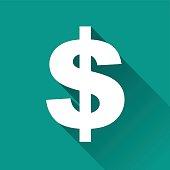 dollar flat design icon