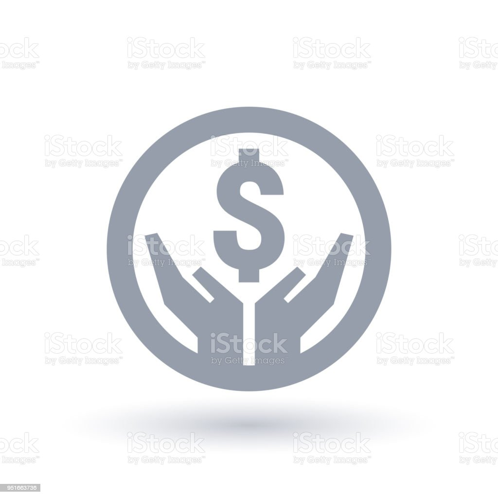 Dollar hands icon - Money success symbol vector art illustration