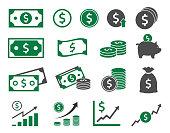 dollar icons, money signs set vector illustration