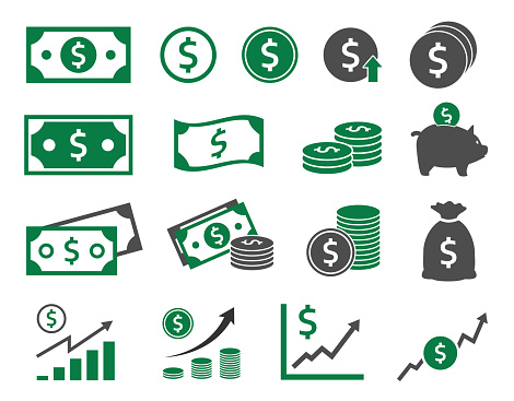 Dollar Icons Set Money Icon Stock Illustration - Download Image Now