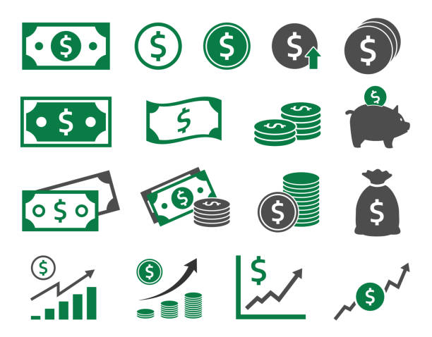 dollar icons set, money icon - banknot stock illustrations