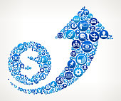 Dollar Increase  Business and Finance Blue Icon Pattern. The round vector buttons completely fill the outlines of the main shape and form a seamless pattern, Each button has a white business and finance icon on it. The buttons vary in size and in the shade of the blue color. The background of this vector illustration is white. The icon set includes classic finance and business icons such as business people, images of various money and financial items as well as typical technology and communication symbols.