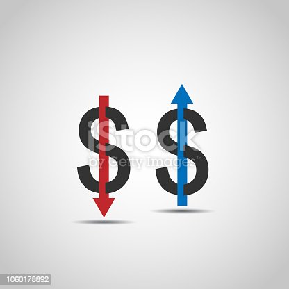 Dollar increase decrease flat icon vector background
