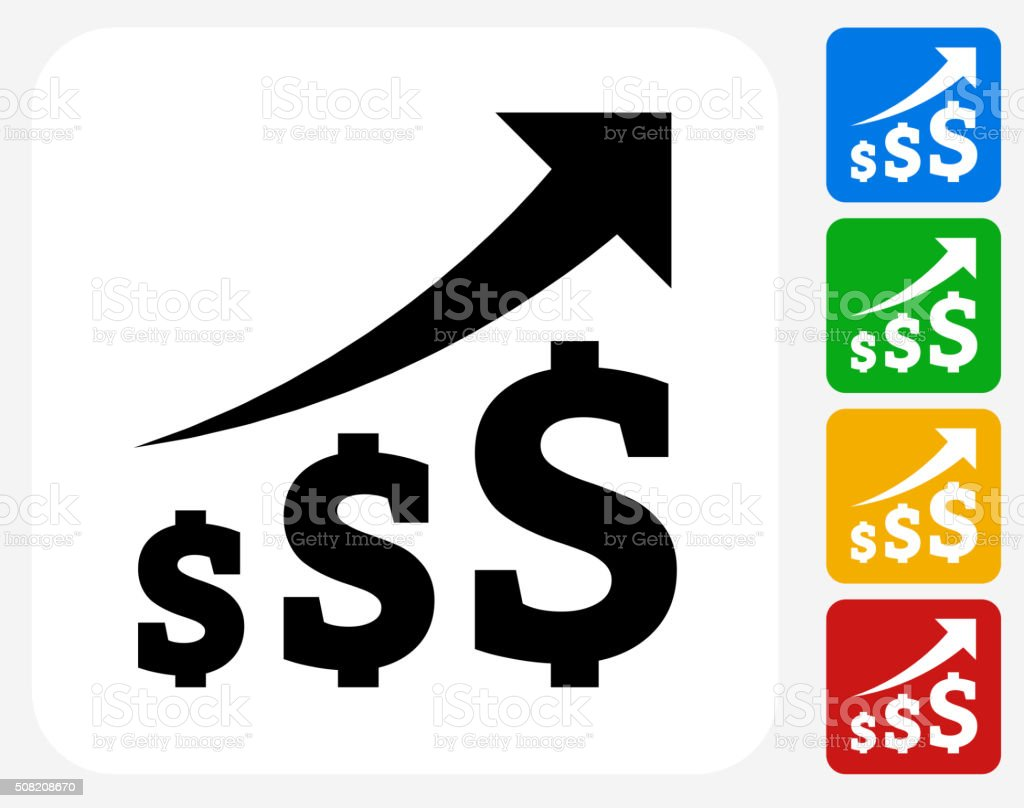 Dollar Increase Icon Flat Graphic Design vector art illustration