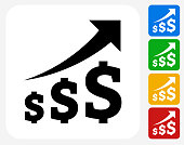 Dollar Increase Icon Flat Graphic Design
