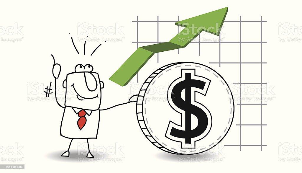 Dollar is growing up vector art illustration