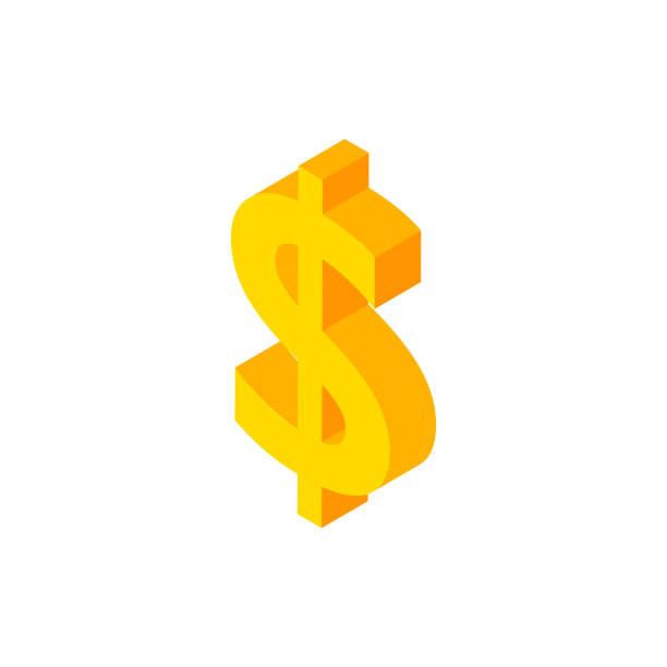 ドルアイソメオブジェクト - ドル記号点のイラスト素材/クリップアート素材/マンガ素材/アイコン素材