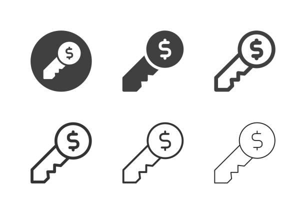 Dollar Key Icons - Multi Series vector art illustration