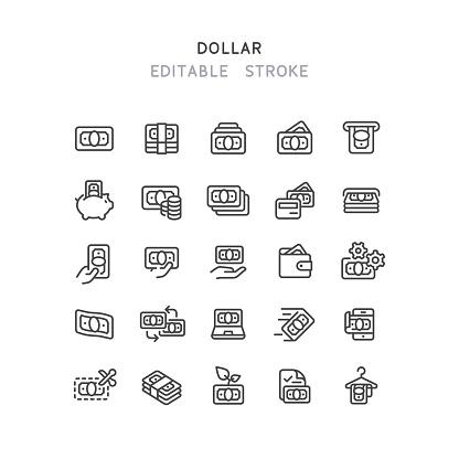 Dollar Line Icons Editable Stroke
