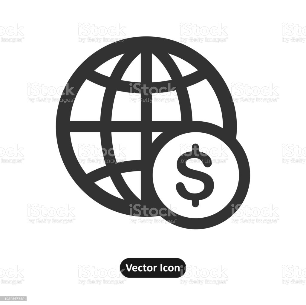 Dollar mark in front of a global mark icon, web site vector art illustration