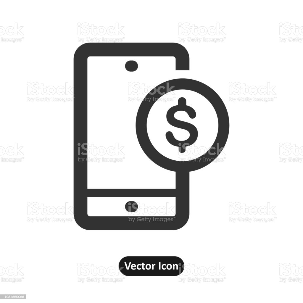 dollar mark in front of a mobile phone icon vector art illustration