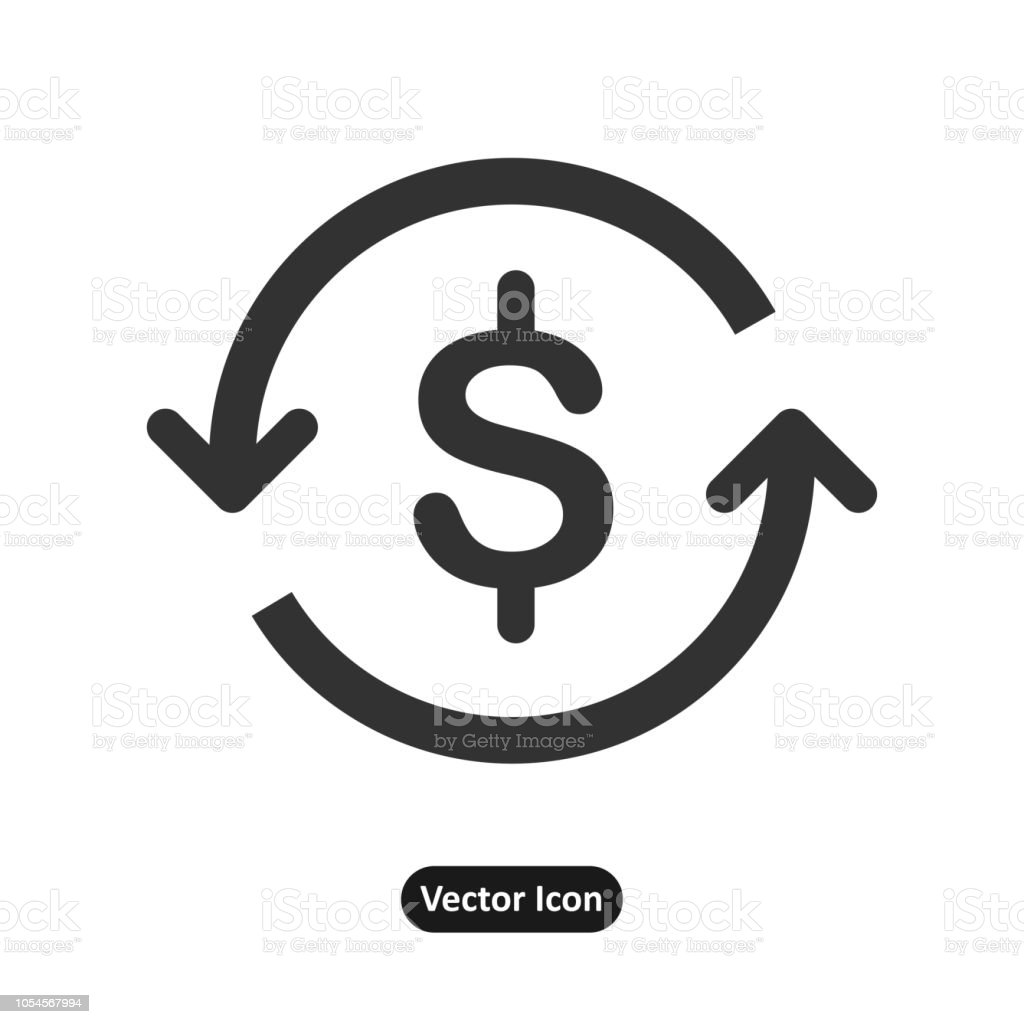 Dollar mark in the middle of a recycle mark vector art illustration